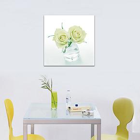 现代时尚单幅装饰画客厅餐厅无框画 家居墙面壁画挂画花卉白玫瑰