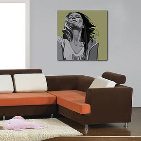 单联无框画 客厅卧室装饰画墙面壁画 公寓蜗居挂画黑白美女