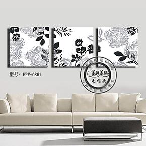 现代时尚简约黑白花卉无框画客厅挂画卧室装饰画墙面壁画三联板画