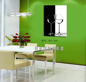 美时美刻无框画黑白红酒杯装饰画餐厅酒吧挂画墙面壁画版画单幅
