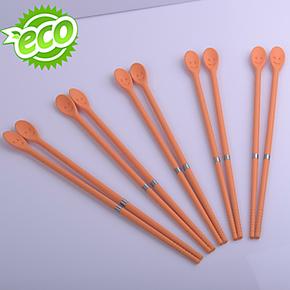 硅胶耐高温火锅筷子 油炸筷子 长筷子 带搅拌勺 料理硅胶筷子