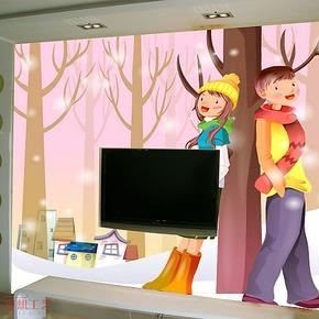 奥想电视背景墙纸壁纸 大型壁画 电视墙背景 客厅卧室墙纸KT0031