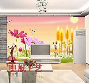 奥想电视背景墙纸壁纸 大型壁画 电视墙背景 客厅卧室墙纸M00164