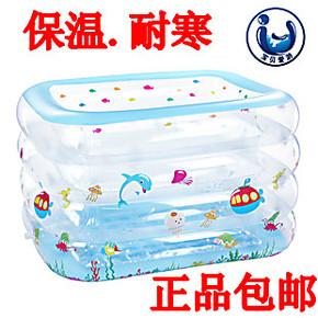 曼波鱼屋 正品包邮 婴幼儿方形充气游泳池儿童双排水加厚款浴缸