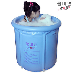 超特价正品水美颜塑料折叠浴桶充气浴缸成人泡澡桶单人沐浴盆木桶