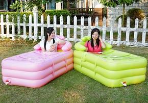 水美颜 加厚加长成人充气浴缸 折叠沐浴桶 浴盆 双人塑料泡澡桶