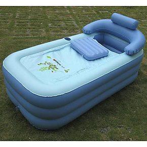 老酒新歌 充气家居浴缸 蓝色折叠浴缸 家用美容浴缸 居家保暖浴缸