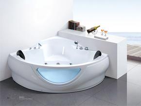 1.5米透视窗亚克力珠光板三角形浴缸。双人扇型冲浪按摩浴缸