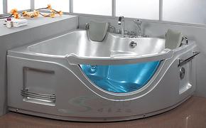 三角双人亚克力珠光板珍珠白冲浪按摩浴缸压克力浴缸1.5米/1.4米