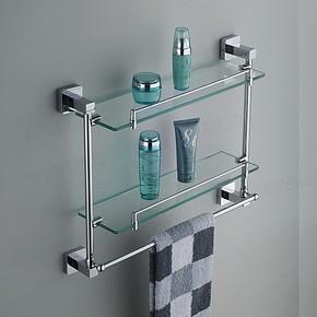 帝玛 不锈钢卫生间 锌合金浴室置物架玻璃化妆台卫浴挂件全铜配件