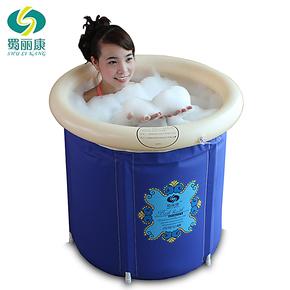 蜀丽康加厚折叠浴桶塑料泡澡桶 充气浴缸成人浴盆 洗澡桶/沐浴桶