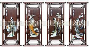 天然玉石雕刻壁画梅兰竹菊四壁饰挂屏牌匾壁屏 四大美女120*50cm
