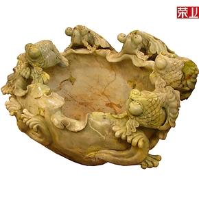 荣上珠宝 天然玉石摆件精品 岫玉雕岫玉鱼缸 玉石鱼缸 金玉0074