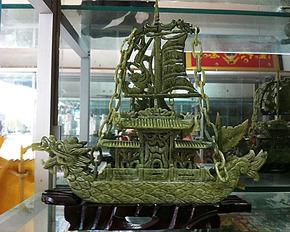 天然玉器双头玉雕龙船一帆风顺居家岫玉摆件 天然玉石摆件