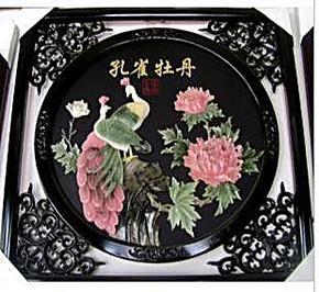 天然玉石玉画--孔雀牡丹 玉雕工艺壁画立体装饰玉画