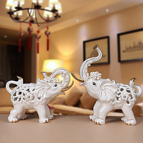 陶瓷大象摆件创意家居装饰品招财风水摆设电视柜酒柜摆件工艺品
