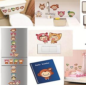 家饰开关贴 快乐宝宝相片贴 卧室电脑贴大头娃娃20个照片墙贴纸
