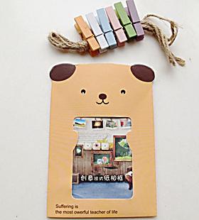悬挂式照片墙 木头夹子牛皮纸相框萌创意儿童房装饰diy套装3寸5寸