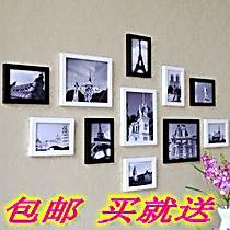 11框相框墙创意组合图片墙照片墙像片墙加厚实木相框墙包邮送画芯