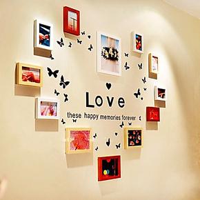 蝴蝶飞飞款照片墙 12框 纯实木相框墙背景墙创意组合大气典雅 DIY