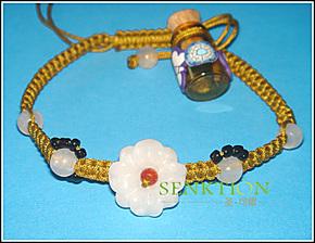 天然翡翠玉石玉雕手饰 香熏精油挂件手绳 玉花草绳编手链
