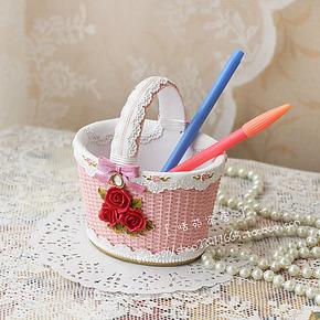 Farm House田园风格仿藤编浮雕玫瑰花茶几桌面收纳篮花篮装饰摆件