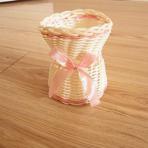 田园手工编织蝴蝶结 收纳篮 可做笔筒 花插 插花器 装饰花篮025