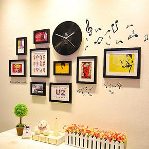 创意家居装饰墙饰GZ029P照片墙墙贴唱片挂钟组合相框墙相片墙包邮
