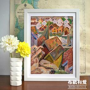 地中海乡村/欧式挂画墙上装饰画/餐厅卧室挂画沙发背景墙三联画竖