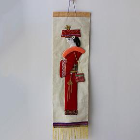 纯手工制作布贴画 人物布画 地方特色墙面装饰挂画 少数民族服饰
