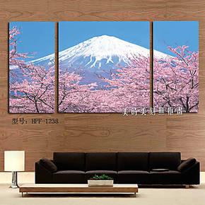 时尚无框画日式酒店料理店装饰画墙画家居客厅挂画日本樱花富士山