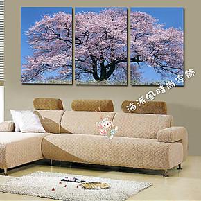 日式酒店料理装饰画 时尚无框画家居客厅壁画挂画三联画 日本樱花