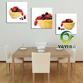 三连画墙上装饰画客厅玄关无框画现代餐厅水果蔬菜画壁画挂画墙画
