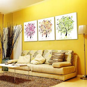 客厅餐厅画现代装饰画挂画壁画无框画三联拼接画组合画墙画三棵树