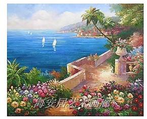酒店大厅装饰画无框画油画时尚地中海欧式风景走廊玄关画挂画8505