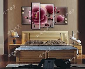 欧式宜家特客厅壁画无框画挂画家庭装饰画四联花卉墙画 春意盎然
