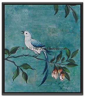 8折特价手绘家庭装饰画客厅挂画餐厅壁画无框画美克美家油画小鸟