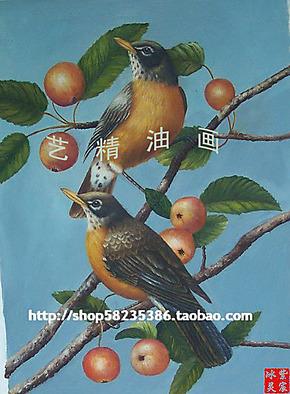 纯手绘油画 家庭装饰画客厅挂画餐厅壁画高档无框画aaa鸟儿伙伴