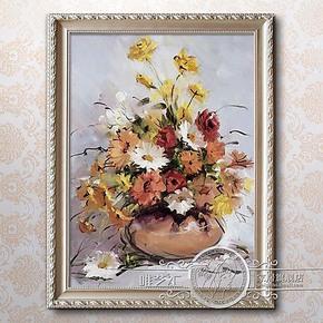 沙发背景墙油画欧式餐厅挂画家庭装饰走廊玄关装饰画手工花卉油画