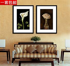 白掌花与玫瑰壁画玄关卧室挂画 餐厅画客厅有框画 办公室家庭装饰
