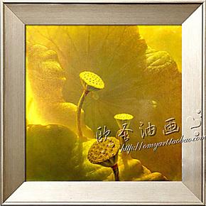 欧圣 玄关挂画 家里装饰墙面画 有框画 纯手绘油画 花卉荷花XH16