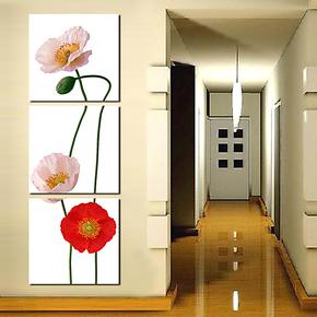 田园客厅三联无框画玄关竖挂装饰画餐厅墙画过廊竖排挂画粉红小花