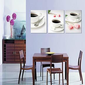 餐厅装饰画 电表箱遮挡 墙壁画挂画版画 客厅餐厅三联无框画