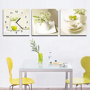 无框画挂钟 壁画挂画 餐厅装饰画 创意 客厅壁画墙上装饰画水晶画