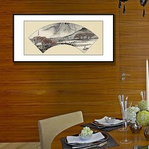 天画现代装饰画客厅书房背景墙酒店挂画古典中国风扇面简框画