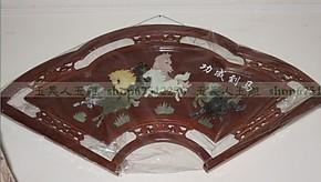 现代客厅装饰画玉雕画壁画扇形实木浮雕天然玉石120*60马到成功