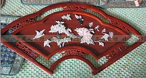 现代客厅装饰画玉雕画壁画扇形实木浮雕天然玉石120*60国色天香