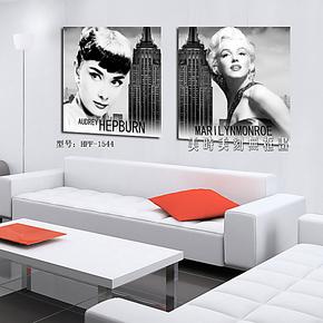 人物黑白写真壁画 客厅卧室装饰画 现代挂画酒店无框画两联画版画