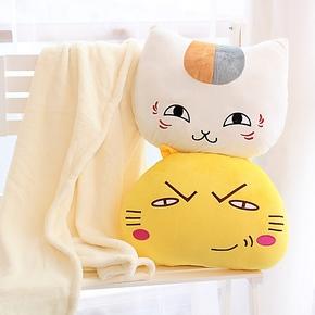 创意卡通可爱猫老师抱枕毯子被子两用靠垫毯加厚毛毯空调毯 包邮