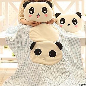 包邮卡通小熊猫空调被抱枕 两用被子大号枕头被子汽车靠垫被子